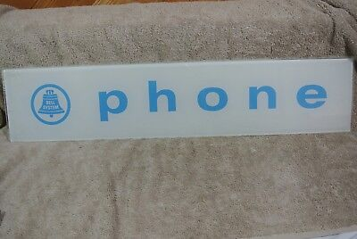 Vintage Bell System Pay Phone Booth Rare Original Glass Topper Sign White Blue