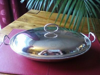An Antique Silver Plated Lidded Entree Dish, Armorial Crest