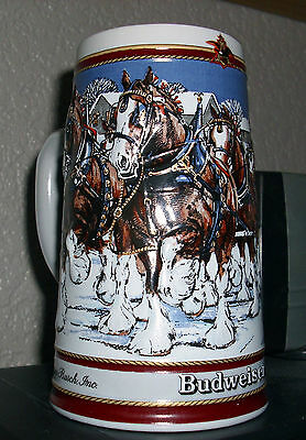 Vintage Budweiser Stein 1989 Clysdales Hitch On A Winters Evening Collectable