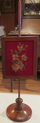"""Antique French Fashion Accessory, Very Rare 14"""" Needlepoint Wooden Firescreen"""