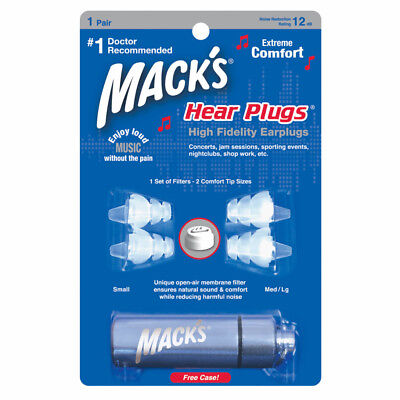 Mack's Hear Plugs High Fidelity Earplugs for Concerts Nightclubs,Shop Work