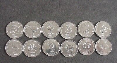 2000 Somalia 12 Zodiac Animals 10 Shillings Coins - Dragon, Monkey, Rooster, Dog