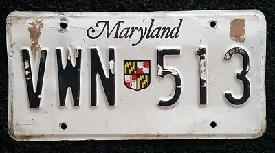 Maryland License Plate Md Tag # Vwn 513