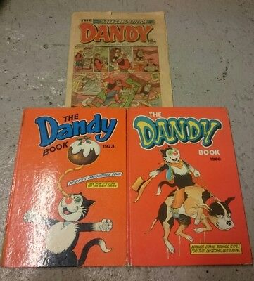 The Dandy Book Annuals X2, 1973, 1980 and X1 Paper Comic used