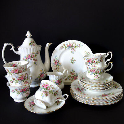 "Kaffeeservice Royal Albert Bone China England ""Moss Rose"" 6 Pers. 20 Teile Top"