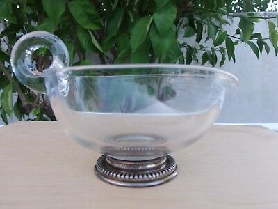 glass sauce boat with solid silver base