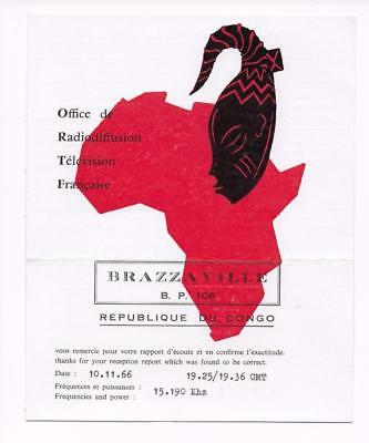 QSL Radio Brazzaville ORTF 1966 Republic of Congo Africa Mask Map 15190 kHz DX