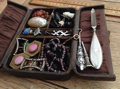 Antique Jewellery Box With Vintage/ Antique Items, Silver, Amber Marieener Shell