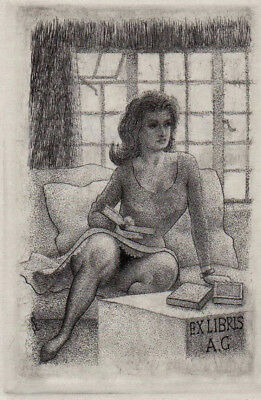 Mark SEVERIN Exlibris A G Erotic Woman on Sofa Copper Engraving C2 #467 1986
