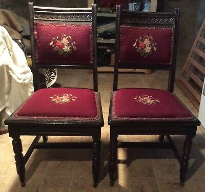 ANTIQUE WOODEN HAND CARVED HIGH BACK CHAIRS, early 1900's