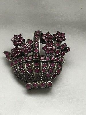 Art Deco Tested Silver Ruby Paving Basket Pendant/Brooch