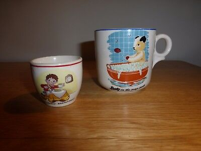 Two  Vintage  Character Pottery Items, A Noddy Egg Cup And A Sooty Cup
