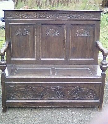 Vintage carved oak monk's bench underseat storage