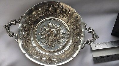 Antique Mark And Tested Sterling Silver Deep Carved Fruit Flower Plates-81.08g