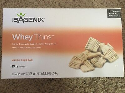 Isagenix White Cheddar Whey Thins~1 Box Sealed Full~100 Calorie Pack snacks