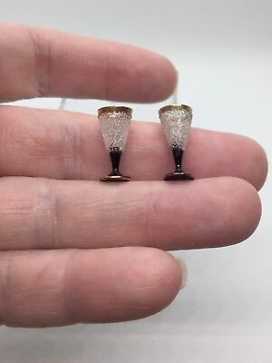Dollhouse Miniature Artsan Gerd Felka Black & Gold Wine Glasses #2
