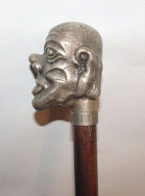 Antique Cane Walking Stick Odd Metal Jester Clown Tongue Out Head / Carved Stick