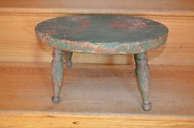 19Th Cent Windsor Style Cricket Foot Stool Crusty Green Paint