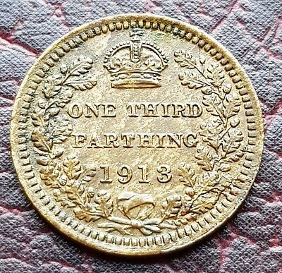 (E26) Uk British 1913 Rare 1/3 One Third Farthing Coin Good Grade Trace Lustre