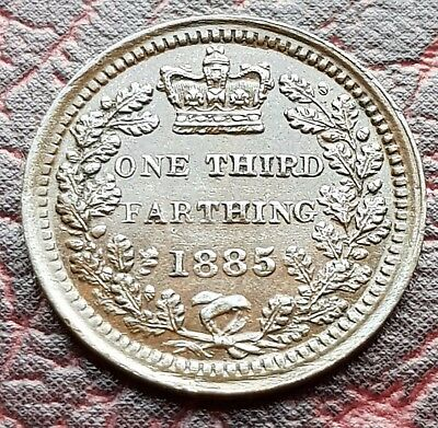 (E25) Uk British 1885 Rare 1/3 One Third Farthing Coin High Grade
