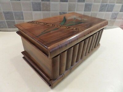 EARLY 20thC INLAID MICRO MOSAIC OLIVE WOOD PUZZLE BOX WITH LOCK & HIDDEN KEY