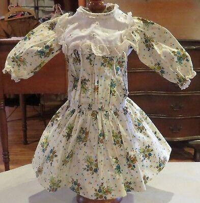 w319 Vintage Drop Waist Dress for Antique Bisque French or German Doll