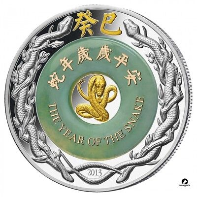 Laos 2013 2000 KIP Year Of The Snake Jade 2 Oz Silver Proof Coin LUNAR