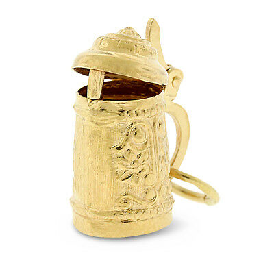 Vintage 18k Solid Gold German Beer Stein Pitcher Charm With Opening Lid