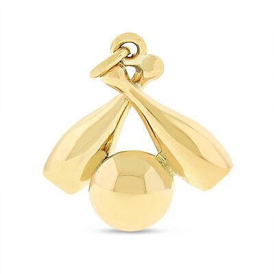 Vintage Bowling Ball & Pins Charm In Solid 14k Yellow Gold
