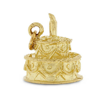 Vintage Two Tier Birthday Cake Charm In Solid 14k Yellow Gold