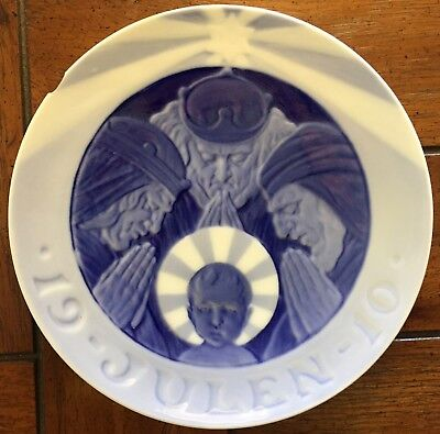 "Royal Copenhagen 1910 ""The Magi"" Christmas Plate Denmark - Chip"