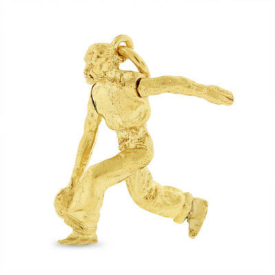 Vintage Man Bowling Moving Arm Charm In Solid 14k Yellow Gold