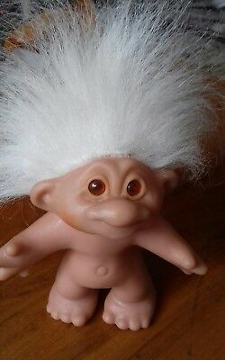 Vintage/Retro Dam Troll 1986 White Hair Amber Eyes