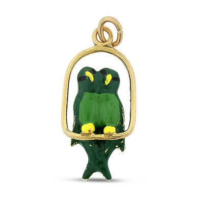 Vintage Double Parrot Macaw On T-Stand Charm Green Enamel Solid 14k Gold