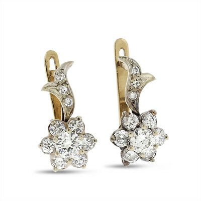 1.40 Carat Vintage Diamond Flower Earrings In Solid 14k Yellow Gold