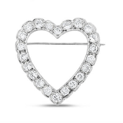 2.30 Ct. Vintage Natural Diamond Heart Pin/ Brooch & Pendant in Solid 14k White