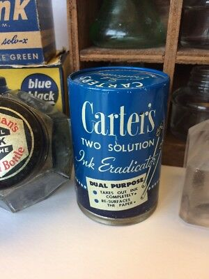 Vintage Carter's Ink Eradicator 2 Solutions Tin & Bottles