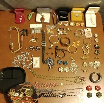 Junk Drawer Vintage Jewelry Lot KRAMER Costume Charms Rosary Watches Earrings