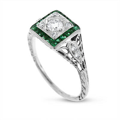 0.95 Carat Vintage Natural Diamond & Emerald Engagement Ring in Solid 18k White