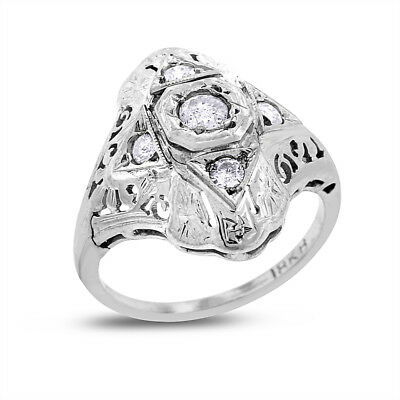 0.30 Carat Vintage Natural Diamond Floral Ring In Solid 18k White Gold