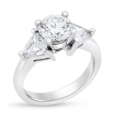 2.70 Ct. Vintage Natural Diamond Trillion & Round Cut Engagement In Solid Platin