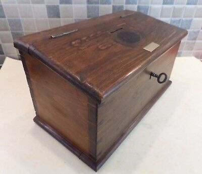 Very Old Pine Wood Collection Box With Worn Carved Detail- Strong Lock & Old Key