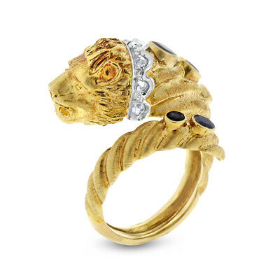 0.85 Ct. Vintage Old Cut Diamond & Sapphire Spiral Lion Ring In Solid 18k Yellow