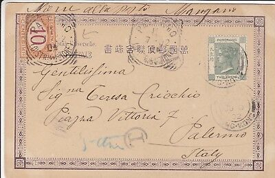 Hong Kong 1902 Postcard 2C Qv Stamp To Italy With 10C Postage Due Stamp Applied