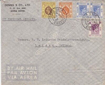 Hong Kong 1938 Imperial Airways Cover To Holland Kgv & Kgvi Stamps From Victoria