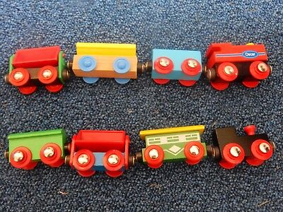 BRIO 2 x TRAIN ENGINES AND SIX CARRIAGES - VERY GOOD, USED CONDITION