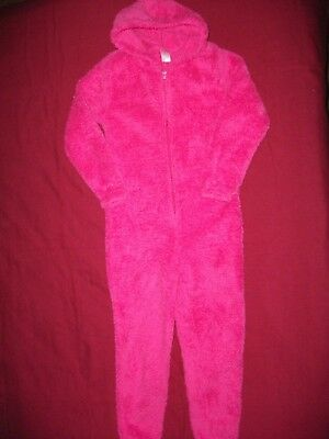 Girls Pink Fleece One Piece All In One- Age 7-8 Years