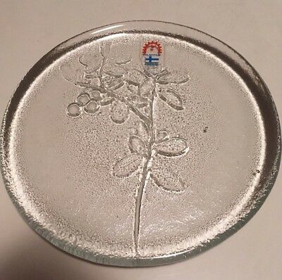 Humppila Finland Glass Berry Flower Plate Labelled