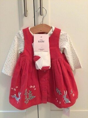 Marks And Spencer Baby 3 Piece Girl Set - Coral - Brand New With Tags
