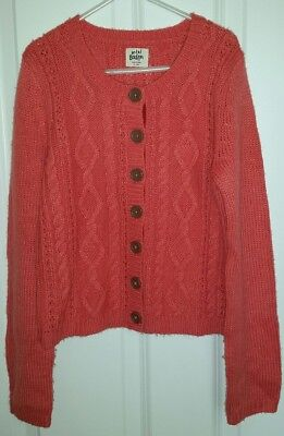 MINI BODEN Girls Button Up Cable Cardigan Coral Size 9-10y